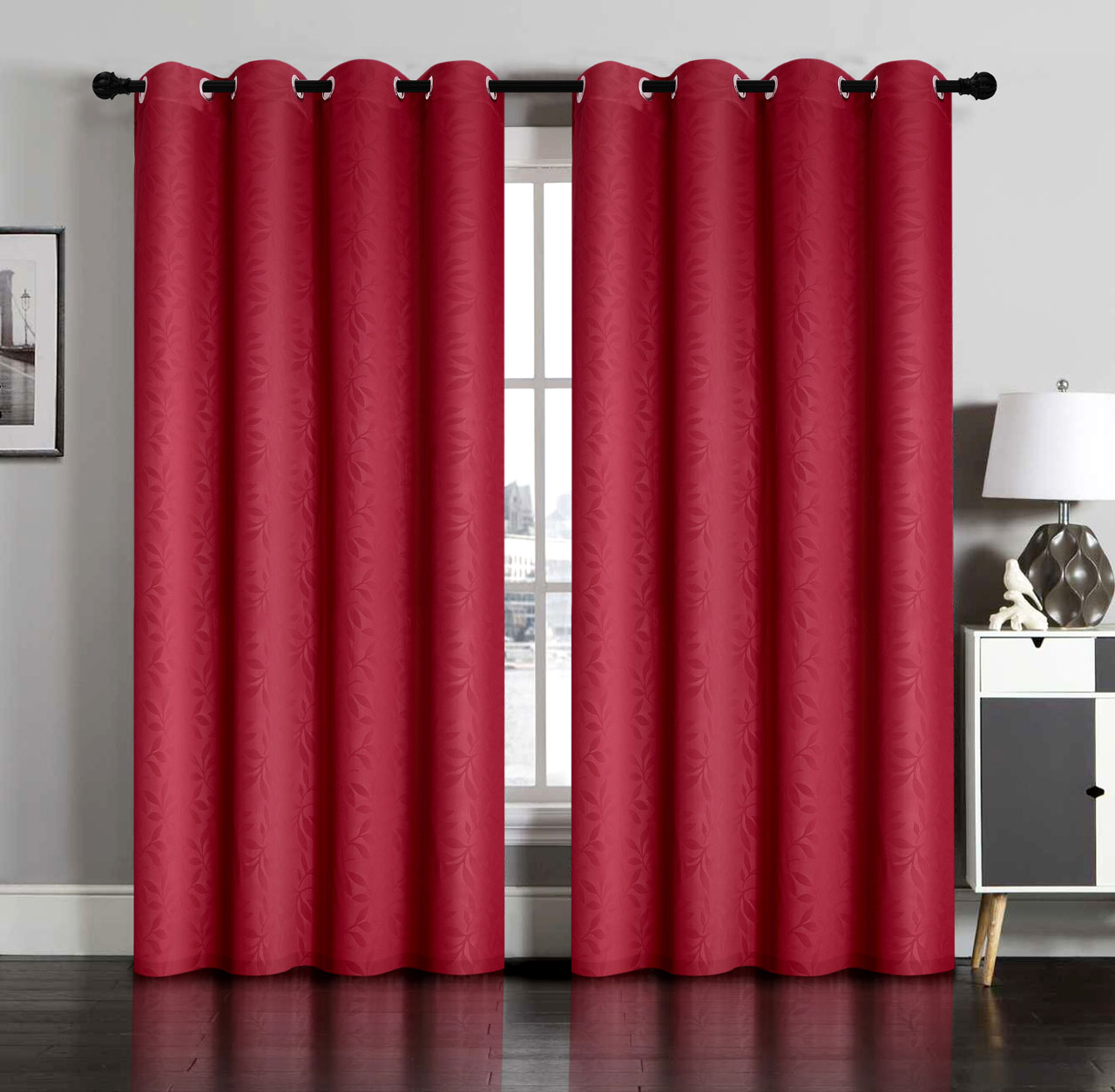 pair of susan blackout embossed window curtain panels w/grommets