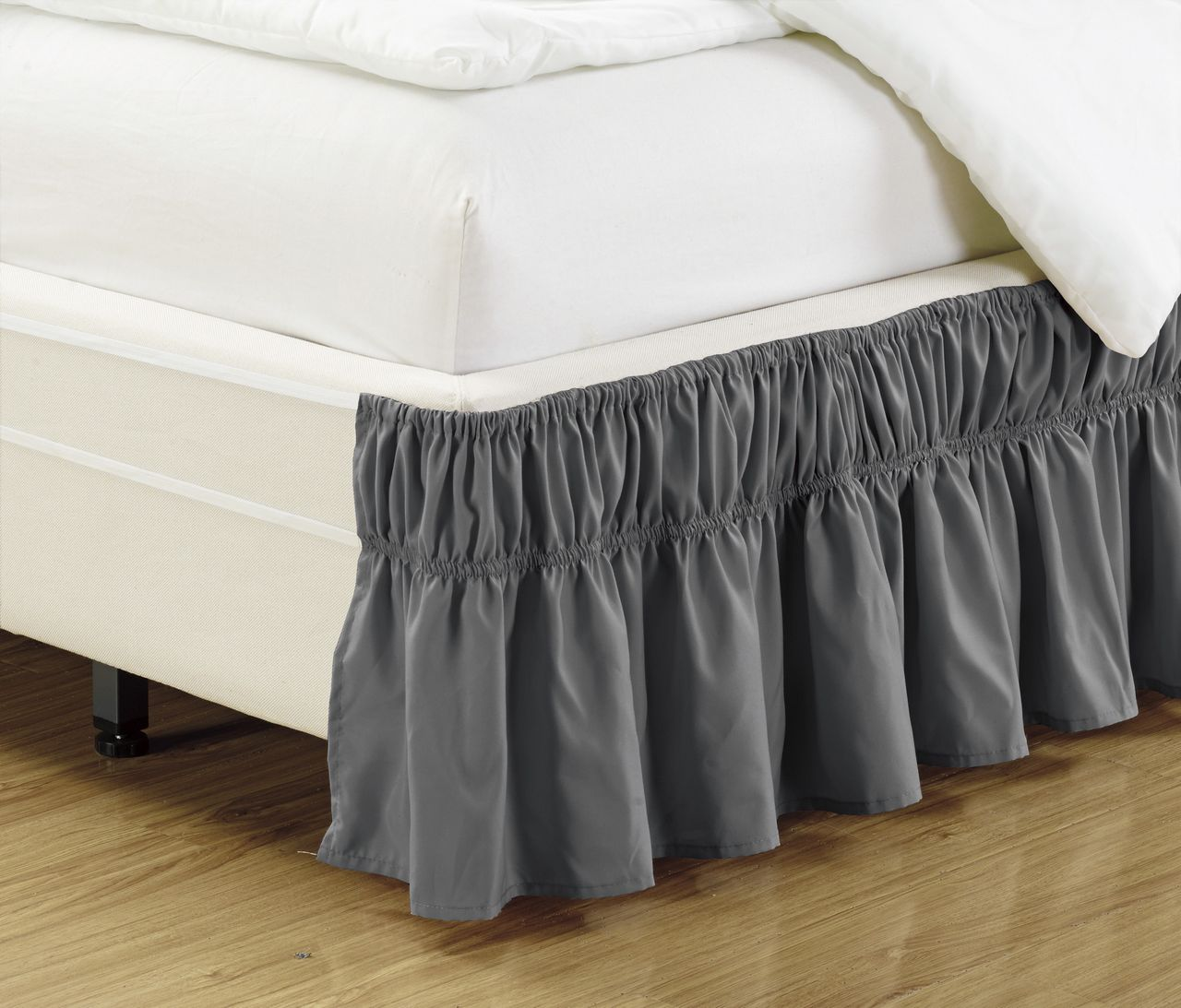 ruffled bed skirt charcoal. Black Bedroom Furniture Sets. Home Design Ideas