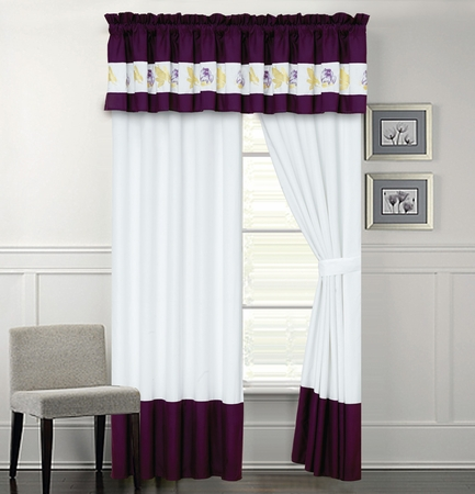 Scarlett Purple and White Curtain Set
