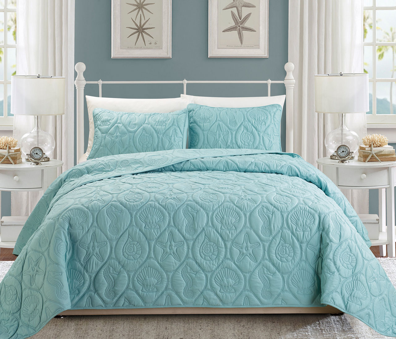 seblbehoquse beach set seaside house quilt blue