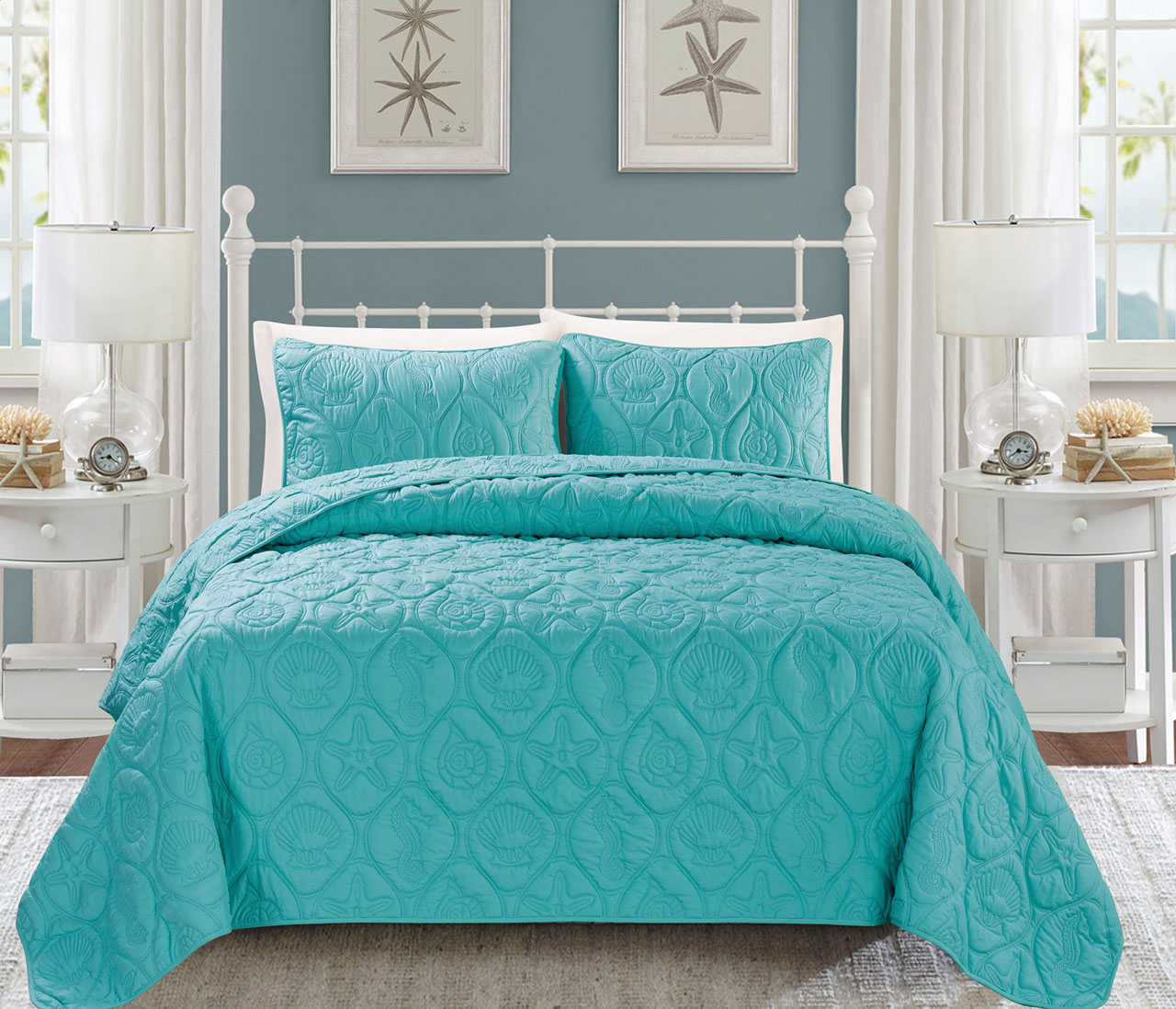 Seashell Turquoise Reversible Bedspread Quilt Set