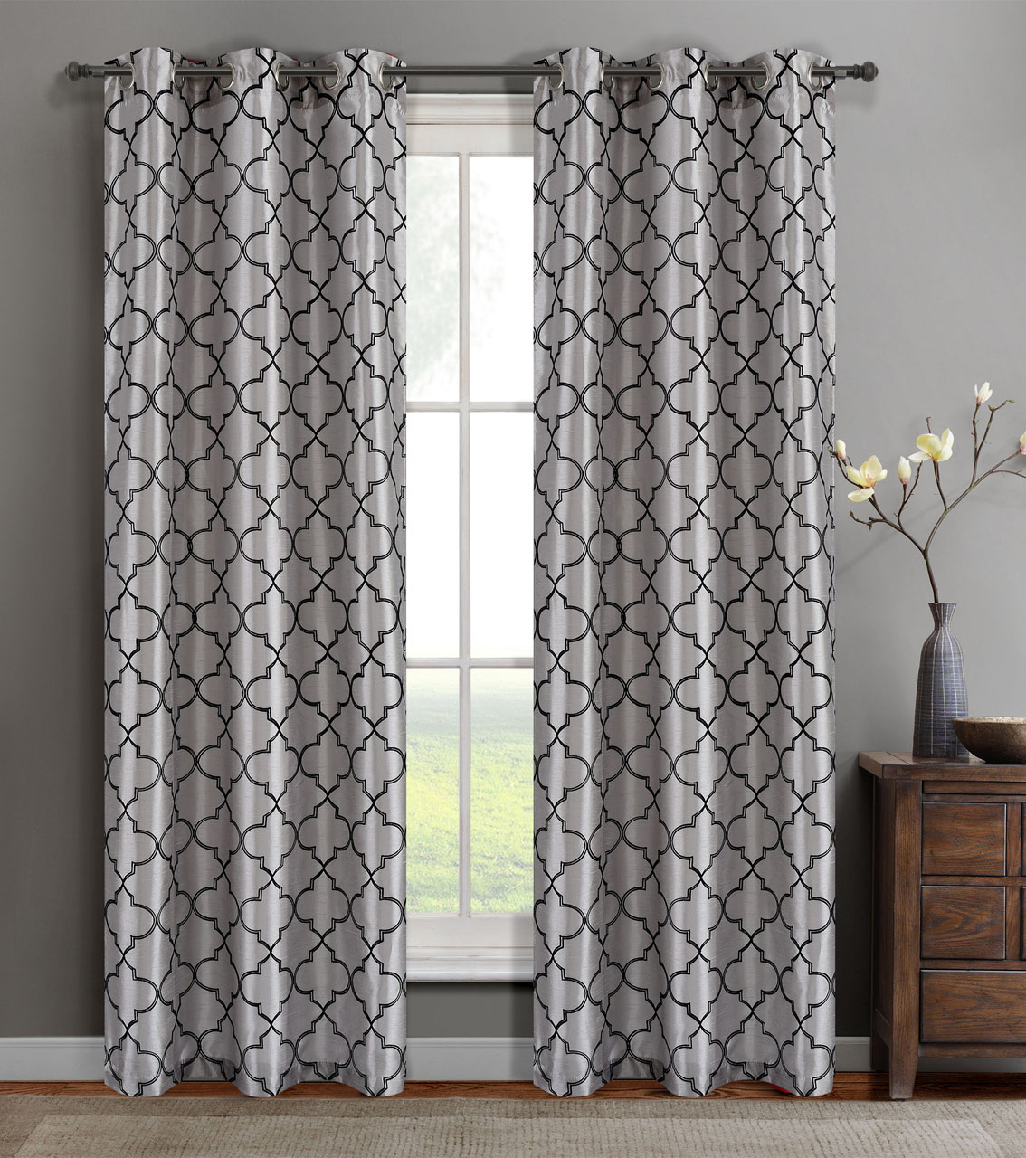 Single Oliver Silver Faux Silk Window Curtain Panel W/Grommets