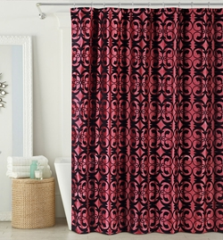 Stella Faux silk Flocking Shower Curtain Burgundy/Black