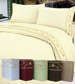 Stone Cotton 450 Thread Count Embroidery Sheet Set King