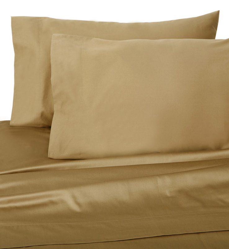 Tan Hotel 600 Thread Count Cotton Sateen Sheet Set Twin