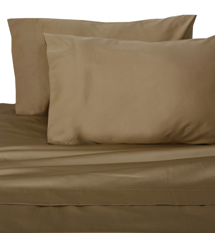 Taupe Hotel 600 Thread Count Cotton Sateen Sheet Set Twin