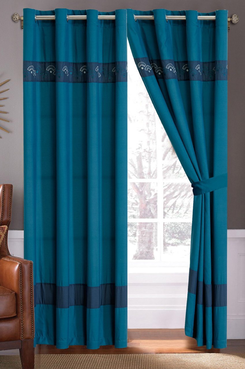 teal navy fan embroidered curtain set
