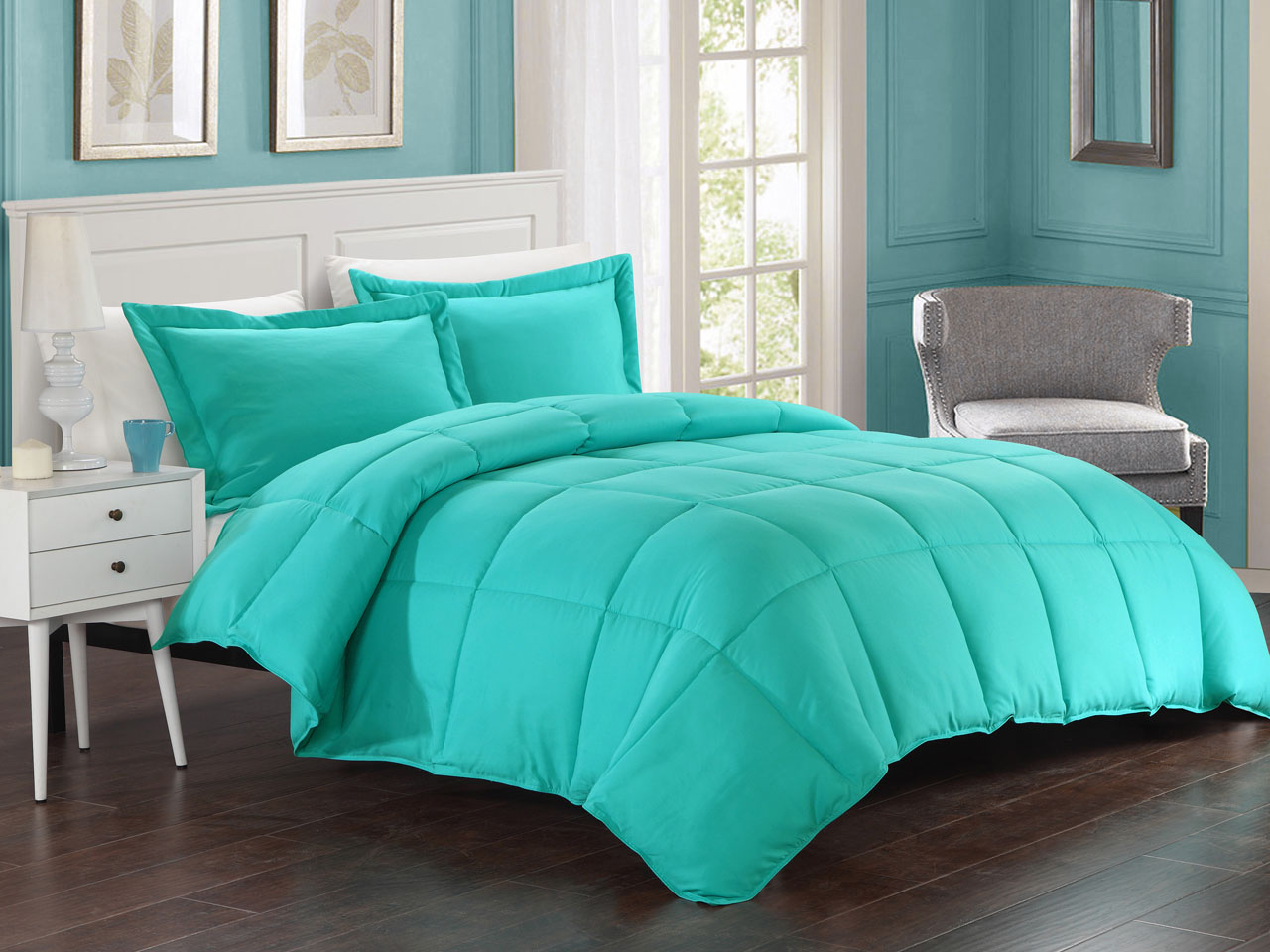 Turquoise down alternative comforter set king