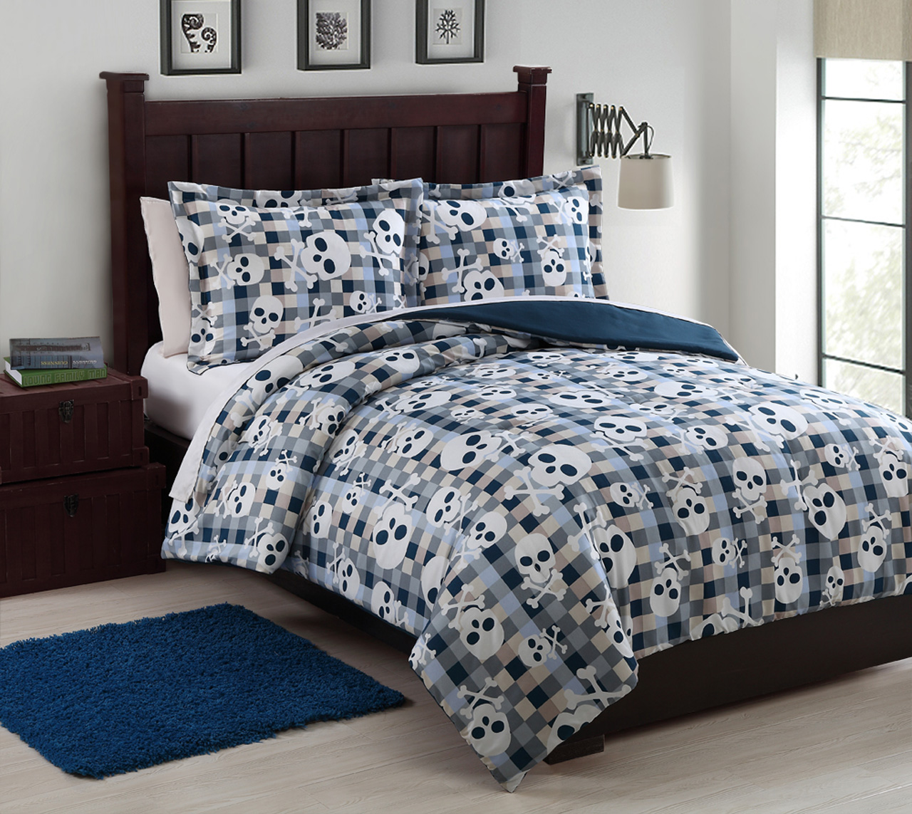 Microfiber Kids Bonez Blue  White Reversible Comforter Set
