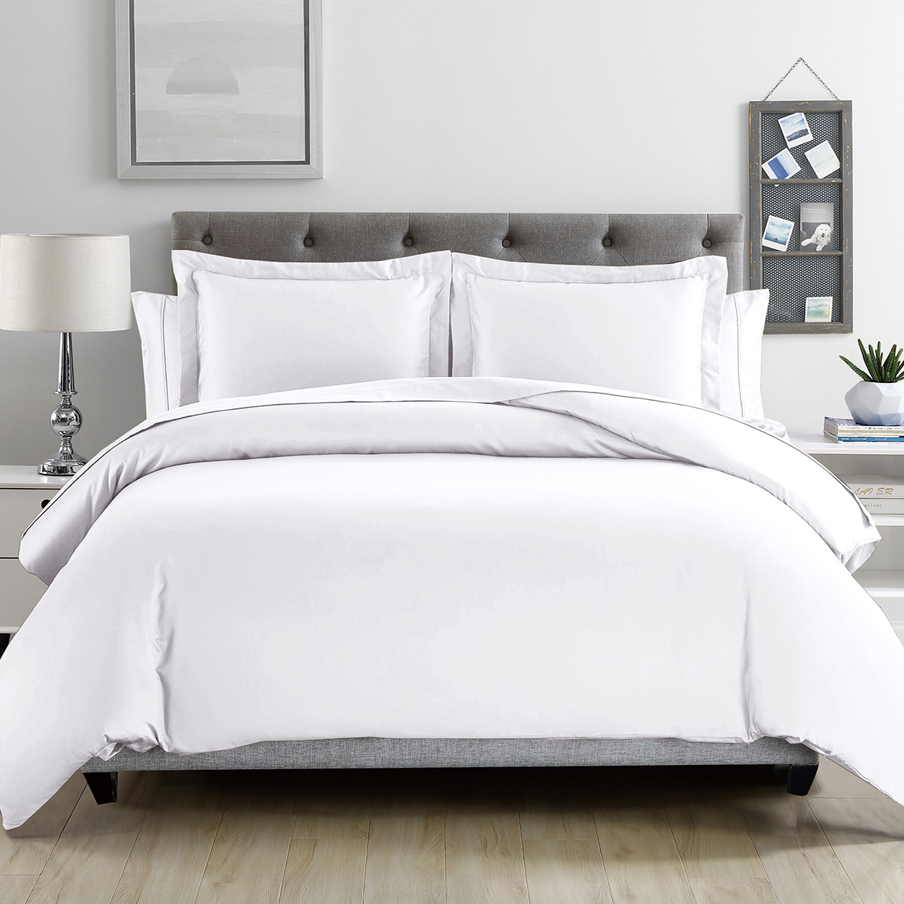 White Silky Bamboo Duvet Cover Set