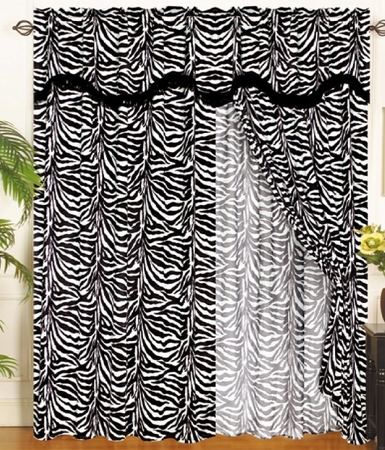 Zebra Animal Kingdom Curtain Set w/ Valance/Sheer/Tassels