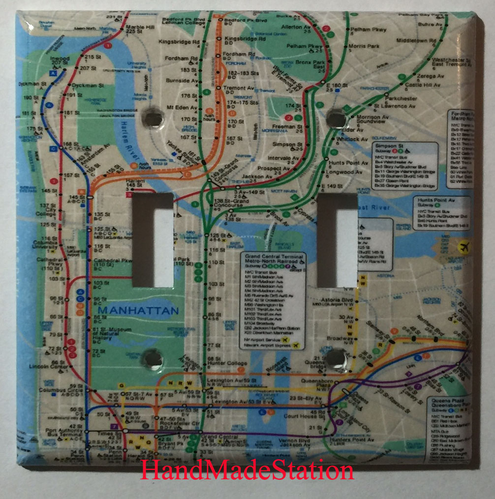 Custom Art Nyc Subway Map.Nyc New York City Subway Map Toggle Light Switch Plate