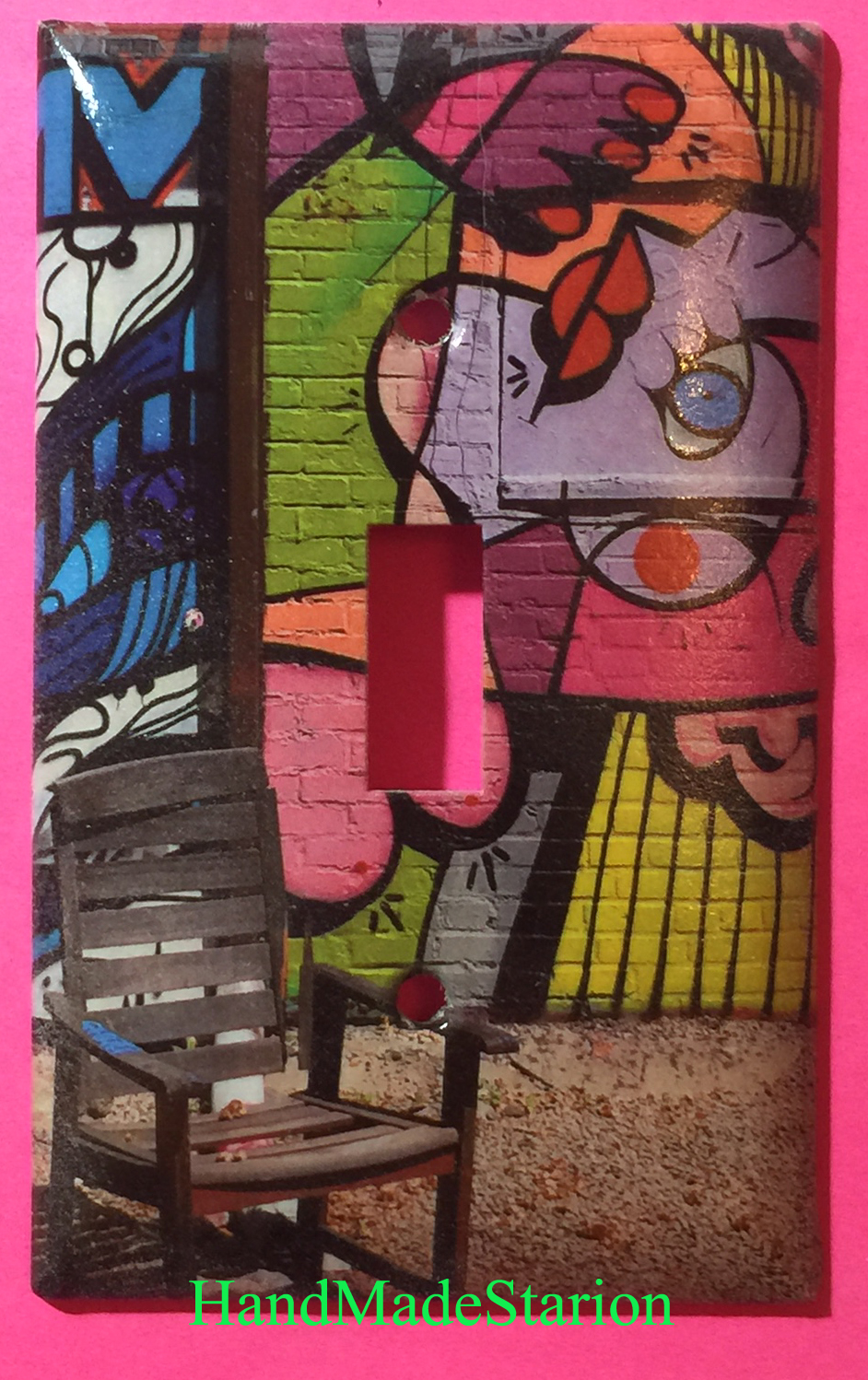 Street Art Wall Painting Chair Toggle Light Switch Plate