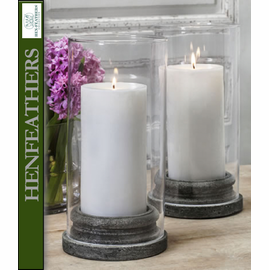 "4 Large Classic Pillar Candleholders w/Hurricane 6.25""dia., Set of 4 plus 4 Hurricanes"