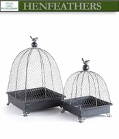 Birds on French Wire Cloches - Set of 2 (n)