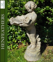 Child with Clamshell Garden Birdbath/Sculpture {USA}