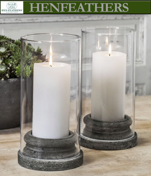 "4 Large Classic Pillar Candleholders w/Hurricane 5.25""dia. - Set of 4 plus 4 hurricanes"
