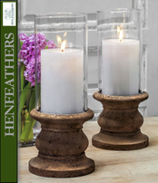 "4 Large Classic Tall 6.00""dia. Pillar Candleholders w/Hurricane - Set of 4 plus 4 Hurricanes"
