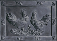 Deux Rooster bas relief in Essex Lead Sample