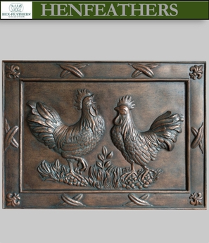 Deux Rooster bas relief in French Copper {USA}