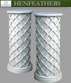 Vintage Lattice Weave Pedestal, Pair