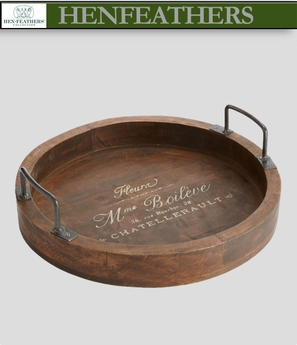 Parisian Cafe Round Tray with Handles (n)