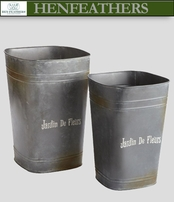 Parisian Tall Fleur Pails, Set of 2 (n)