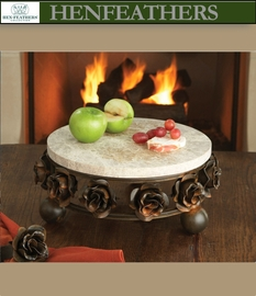 Rose Study Round Marble Cheese Tray (n)