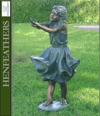 Windy   Girl Holding Bird Bronze Garden Sculpture