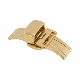14mm Shiny Gold-tone Push Button Butterfly Clasp