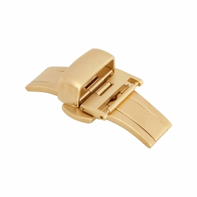 16mm Satin Gold Tone Push Button Butterfly Clasp