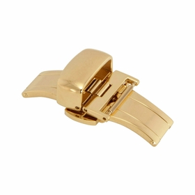 16mm Shiny Gold-tone Push Button Butterfly Clasp