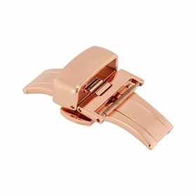 18mm Shiny Rose-tone Push Button Butterfly Clasp