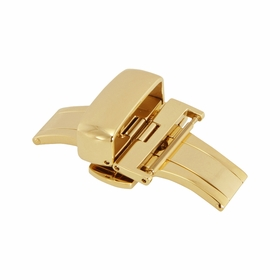 20mm Shiny Gold Tone Push Button Butterfly Clasp