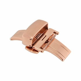 20mm Shiny Rose-tone Push Button Butterfly Clasp