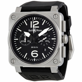 Bell and Ross BR0394-BL-ST Aviation Mens Chronograph Automatic Watch