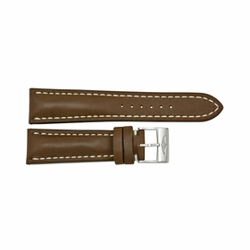 Breitling Brown Leather Watch Band Strap with a Stainless Steel Tang Buckle 24-20mm