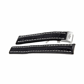 Breitling Strap Black Leather Watch Band Strap with White Stitching and a Stainless Steel Deployment Buckle 20-18mm