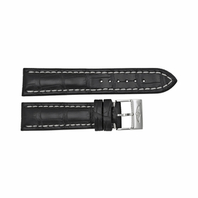 Breitling Black Strap with a Stainless Steel Tang Buckle 22-20mm