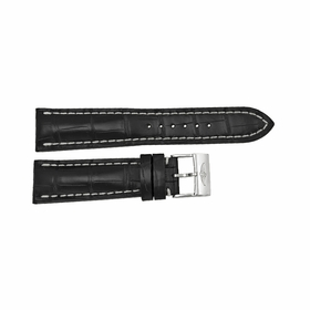 Breitling Black Strap with a Stainless Steel Tang Buckle 24-20mm