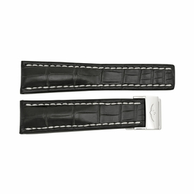 Breitling Black Watch band Strap with White Stitching and a Stainless Steel Foldover Buckle 24-20m