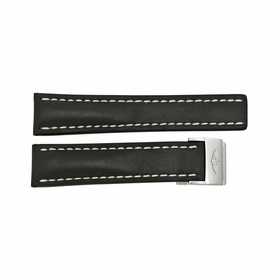 Breitling Black Leather Strap White Stitching with a Stainless Steel Deployment Buckle 22-20mm