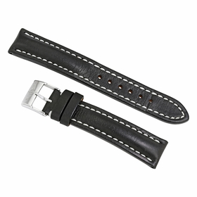 Breitling Black Leather Strap Stainless Steel Tang Buckle 18 mm / 16mm