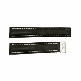 Breitling Strap styled in Black Leather and White Stitching with a Stainless Steel Deployment Buckle 20-18mm