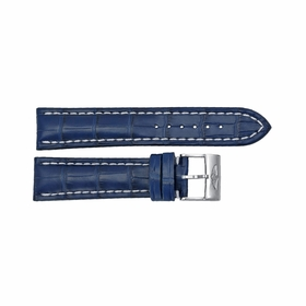 Breitling Strap Blue Leather Strap with White Stitching and a Stainless Steel Tang Buckle 22-20mm