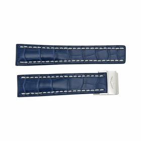 Breitling Strap Blue Leather Strap with White Stitching and a Stainless Steel Deployment Buckle 22-20mm