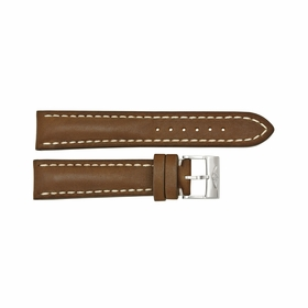 Breitling Strap Brown Leather Strap and White Stitching with a Stainless Steel Tang Buckle 20-18mm