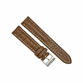 Breitling Brown Strap with White Stitching and a Stainless Steel Tang Buckle 20-18mm