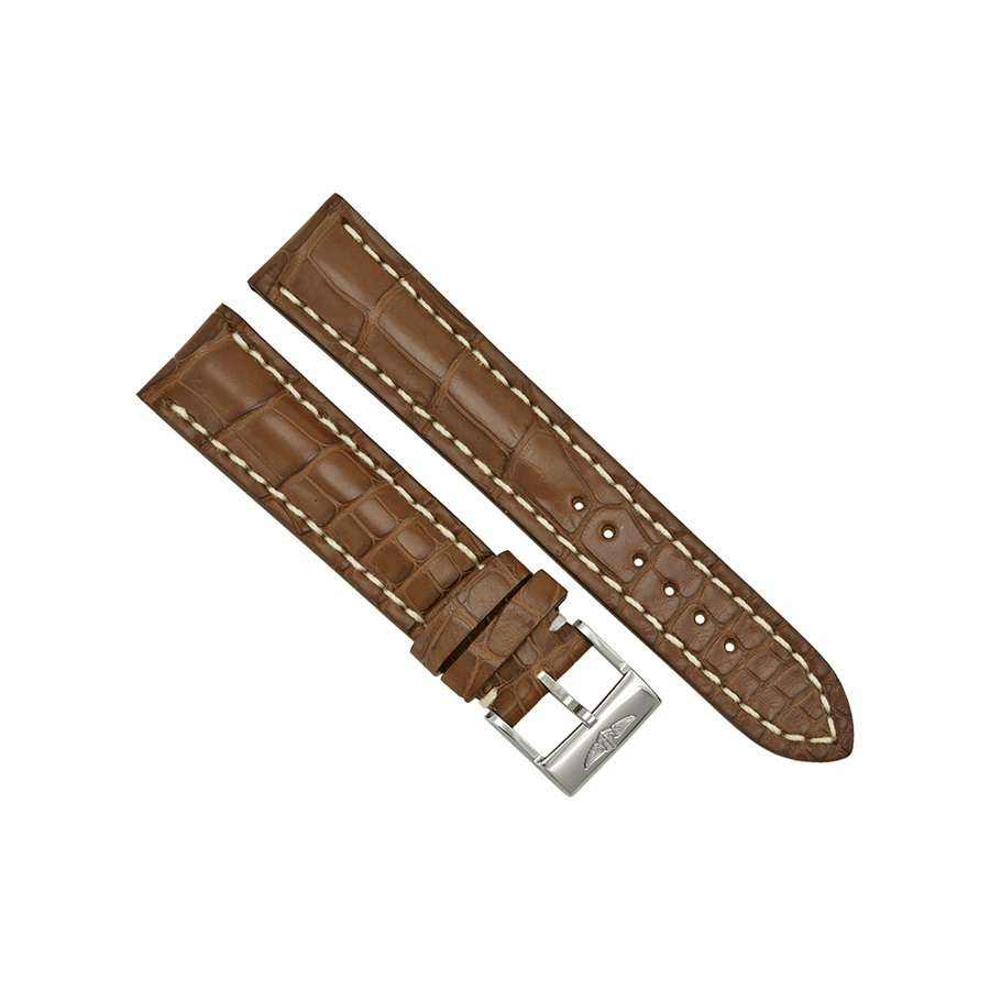 a9789e9a049 Breitling Brown Strap with White Stitching and a Stainless Steel Tang  Buckle 20-18mm