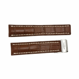 Breitling Brown Strap with White Stitching and a  Stainless Steel Folding Buckle 22-20mm